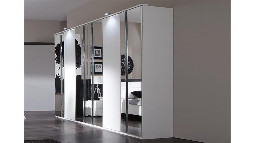Kleiderschrank DAVOS 270 cm in alpinweiß Chrom mit Spiegel