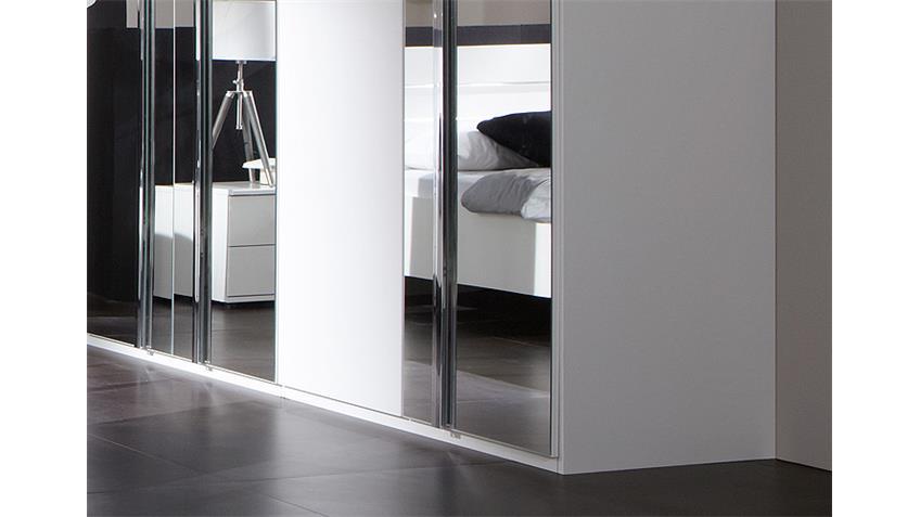 Schlafzimmer Set DAVOS Alpinweiß Chrom mit Spiegel 4-teilig