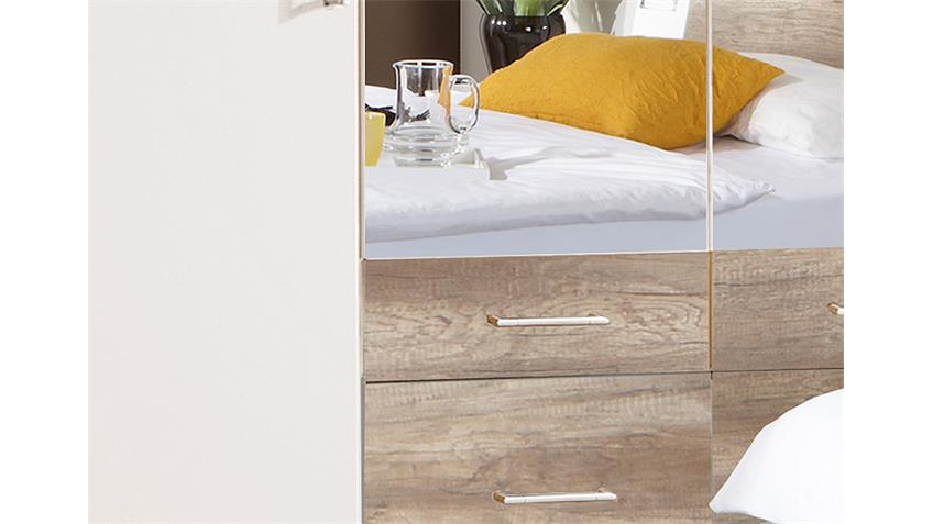 Kleiderschrank TRENTO Weiß und Wildeiche B 225 cm