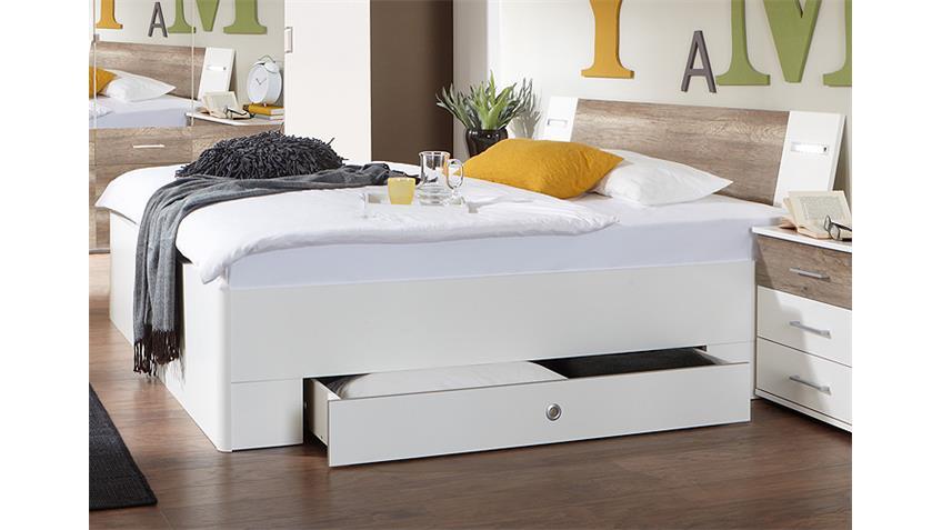 Bett TRENTO Weiß und Wildeiche 180x200 cm
