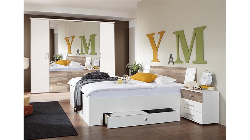 Schlafzimmer-Set TRENTO Weiß und Wildeiche