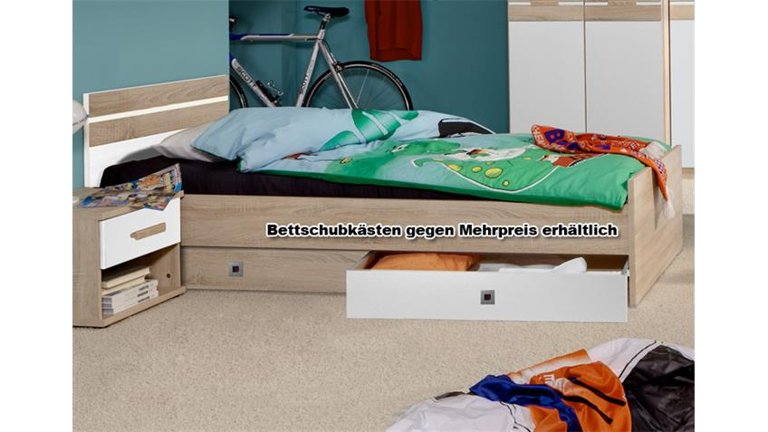 Bett GAME Weiß Sonoma Eiche sägerau 90x200 cm