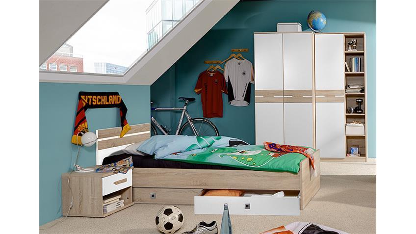 Jugendzimmer-Set GAME Weiß und Sonoma Eiche sägerau