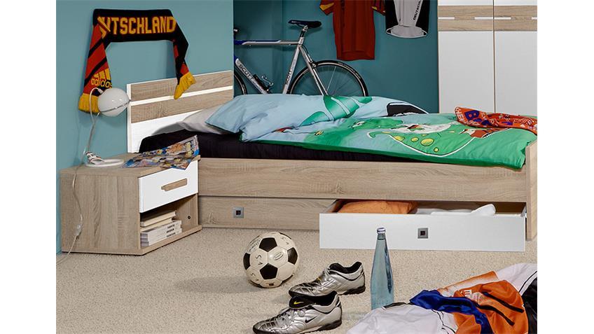 Jugendzimmer-Set 2 GAME Weiß und Sonoma Eiche sägerau
