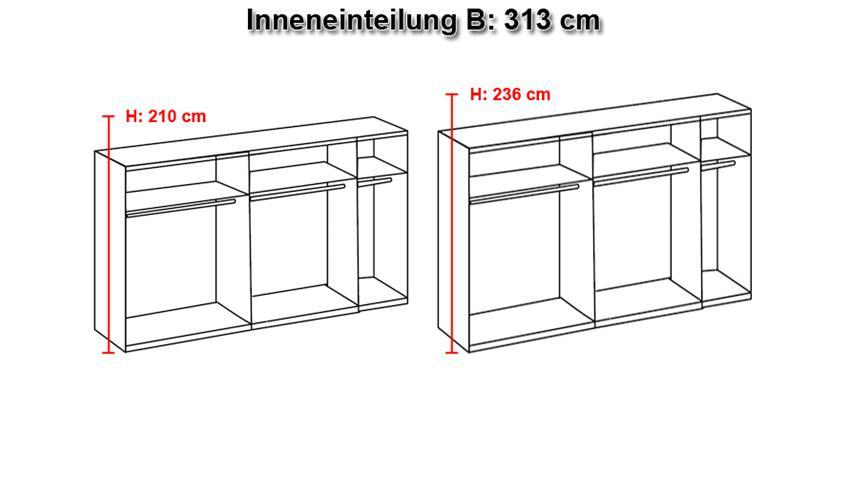 Schwebetürenschrank MATCH UP MontanaEiche Schwarzglas 313 cm
