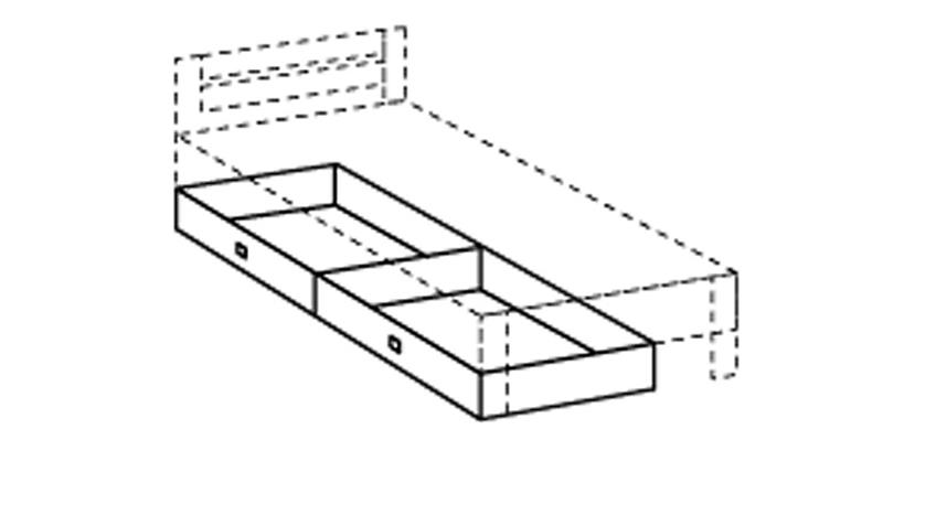 Bettschubkästen Filou in alpinweiß Dekor 2er Set 100x16x60