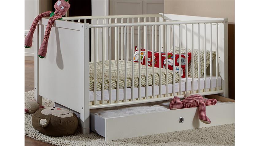 Babyzimmerset Filou 3 teilig Bett Schrank Kommode Alpinweiß