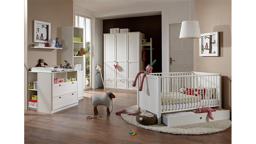 Babyzimmerset Filou 8 teilig Bett Schrank Kommode Alpinweiß