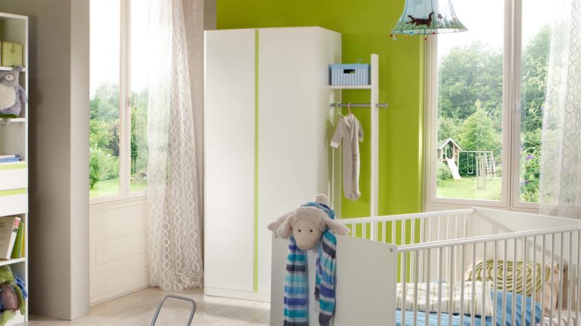 Kleiderschrank Kinderzimmer BIBI 2-türig weiß und apfelgrün