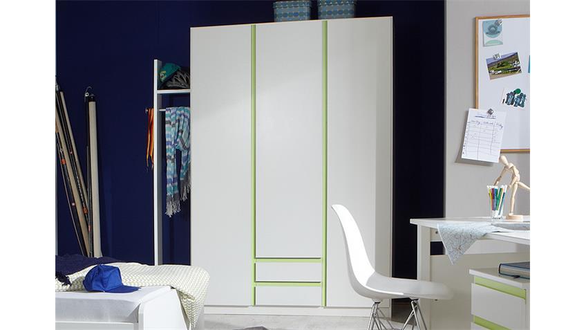 Kleiderschrank 2 BIBI 3trg. Weiß und Apfelgrün