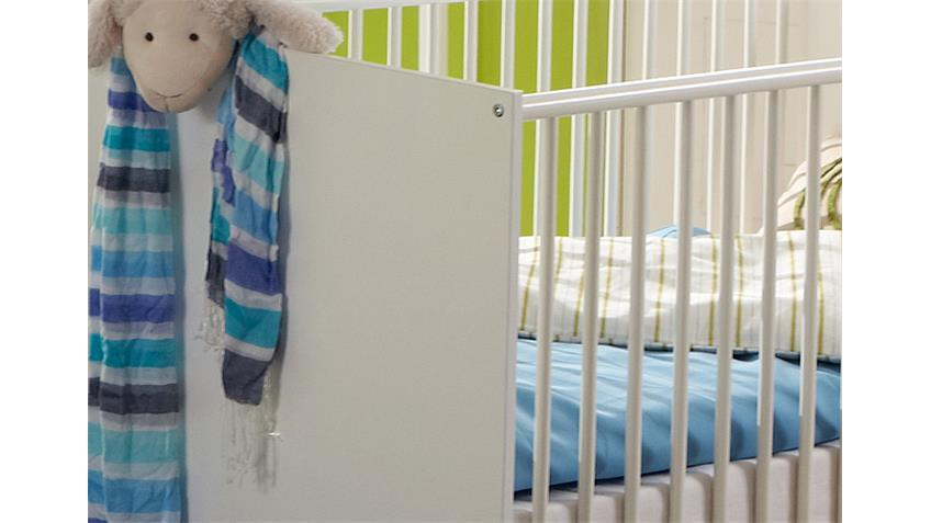 Babybett BIBI in weiß Dekor Kinderbett Babyzimmer 70x140