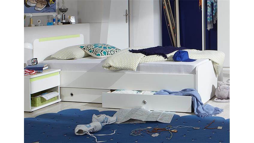 Bett BIBI Kinderbett in weiß und apfelgrün 90x200 cm