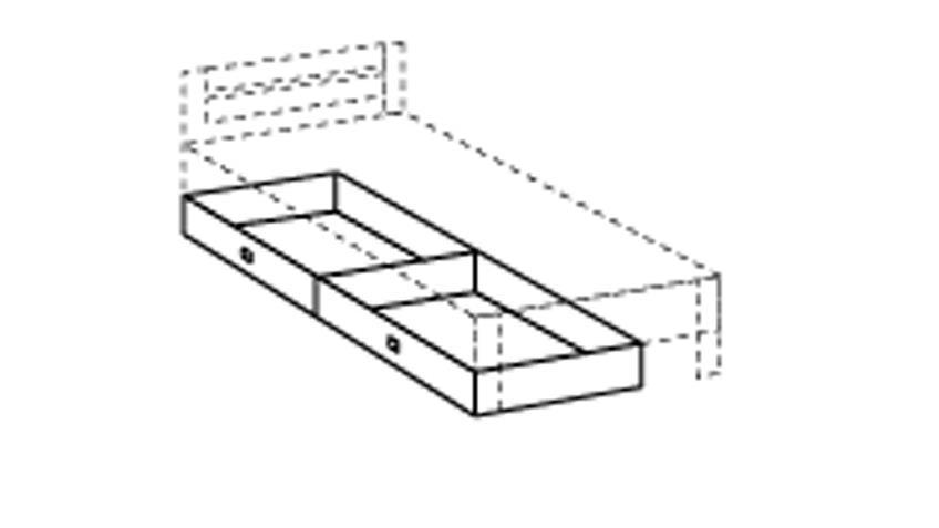 Bettkasten BIBI 2er Set in Alpinweiß Dekor Kinderzimmermöbel