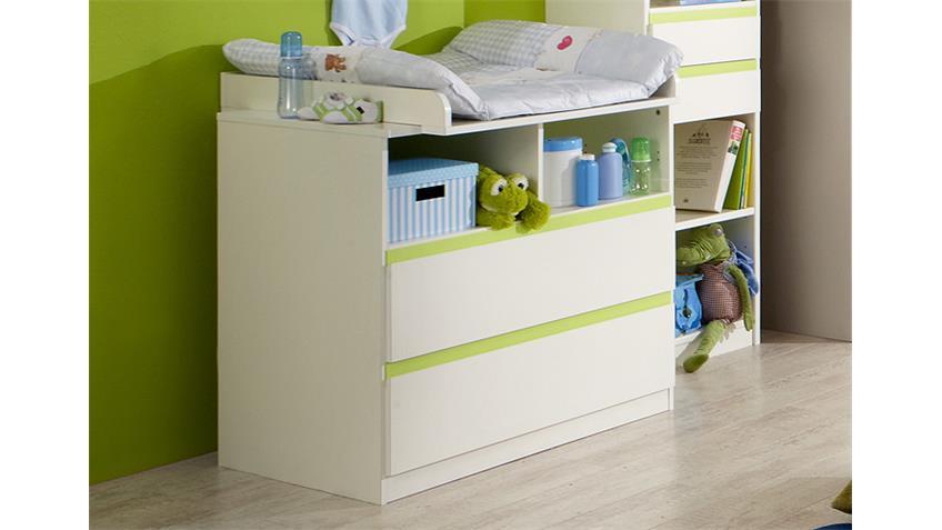 Wickelkommode BIBI Wickeltisch in weiß und apfelgrün