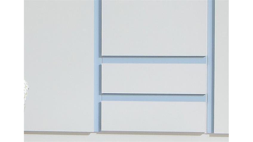 Kleiderschrank 2 BIBI 3trg. Weiß und Iceblau