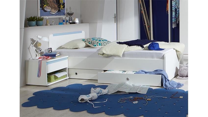 Jugendzimmer BIBI 7-teilig Weiß und Iceblau