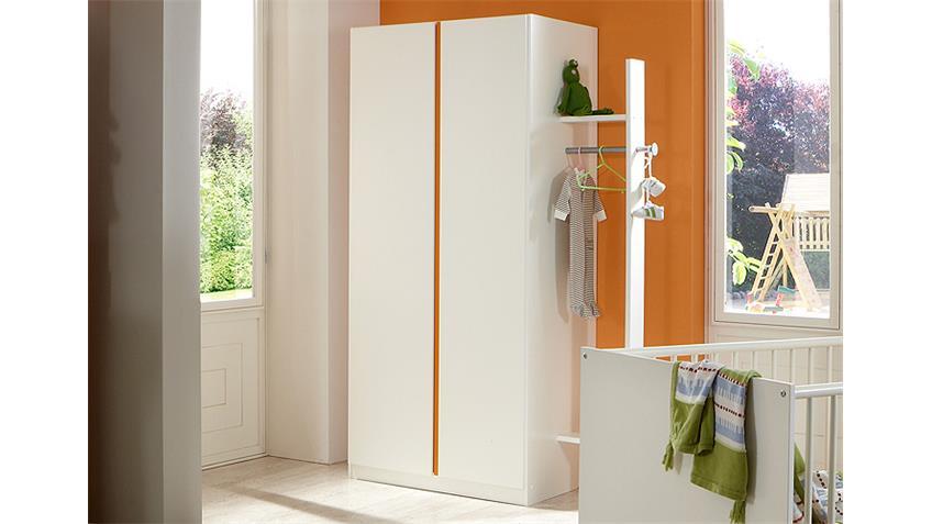 Kleiderschrank BIBI 2trg. Weiß und Orange
