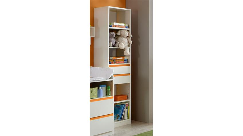 Regal BIBI Standregal Kinderzimmer Babyzimmer weiß orange