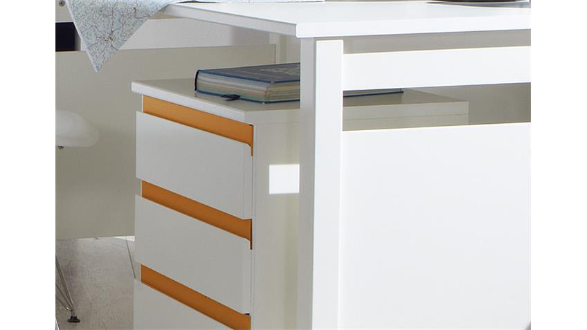 Schreibtisch Set BIBI Rollcontainer in weiß und orange