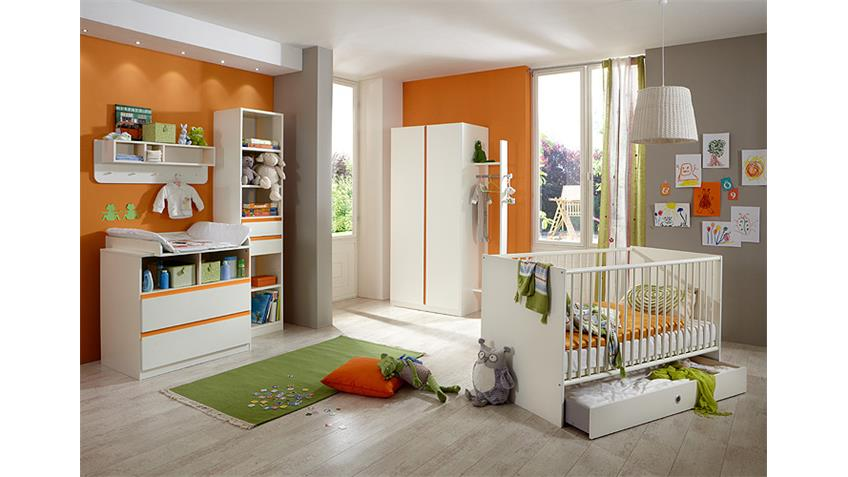 Babyzimmer BIBI 7-teilig weiß und orange