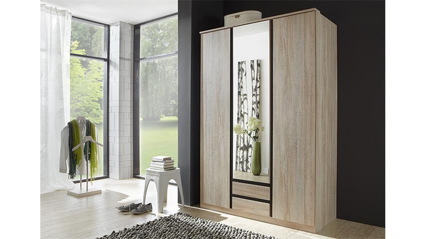 Kleiderschrank LINE Sonoma Eiche Lava mit Spiegel 135 cm
