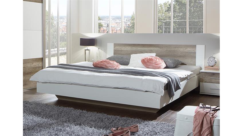 Futonbett FRANZISKA Weiß/ Wildeiche 180x200 cm