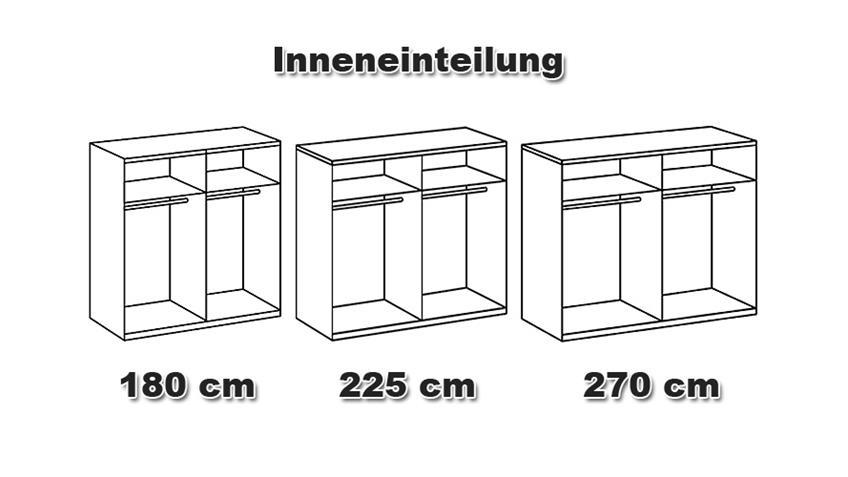Schwebetürenschrank FRANZISKA Weiß/ Wildeiche 225 cm