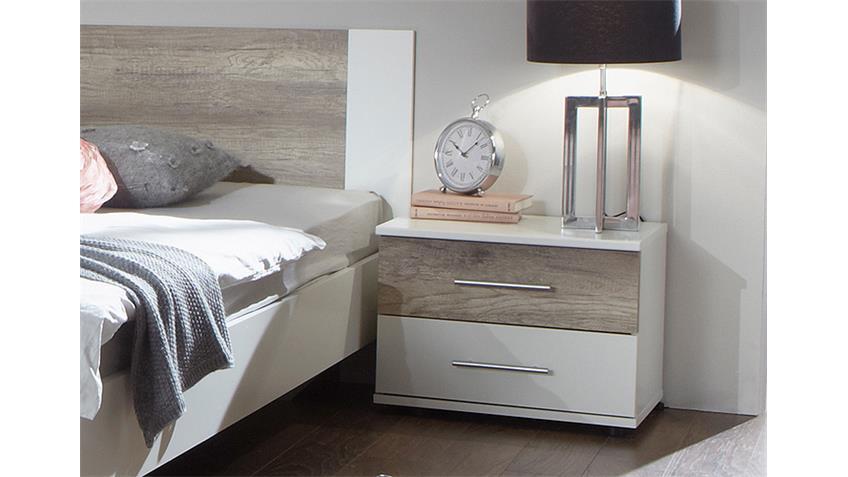 Schlafzimmer Set FRANZISKA Weiß/ Wildeiche 4 TLG