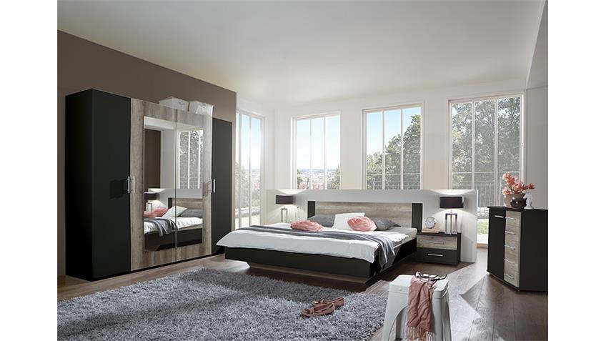 Schlafzimmer Set FRANZISKA Lava/ Wildeiche 4 TLG