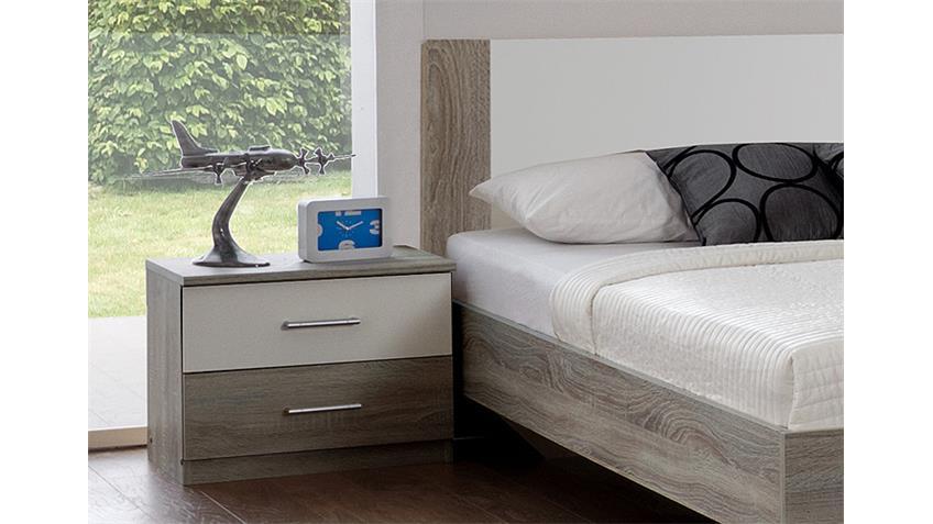 Schlafzimmer Set FRANZISKA Montana Eiche sägerau/ Weiß 4 TLG