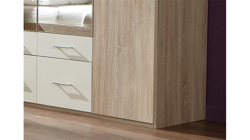 Kleiderschrank MODEST Sonoma Eiche sägerau/ Weiß 225 cm
