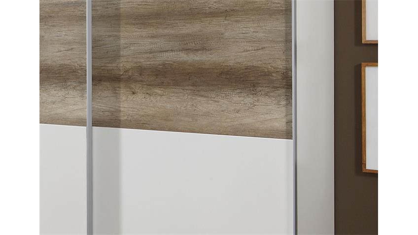 Schwebetürenschrank 1 MATCH UP weiß Wildeiche 313x210 cm
