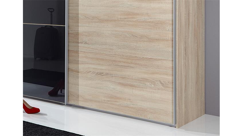 Schwebetürenschrank MATCH UP Eiche Sonoma Schwarzglas 313x236 cm