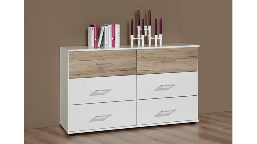 sideboard downtown anrichte kommode in wei san remo eiche. Black Bedroom Furniture Sets. Home Design Ideas