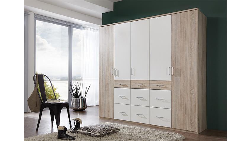 Kleiderschrank CLICK 2 Sonoma Eiche Sägerau Weiß 225