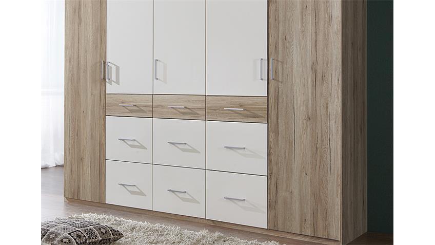 Kleiderschrank CLICK 2 San Remo Eiche Weiß 225