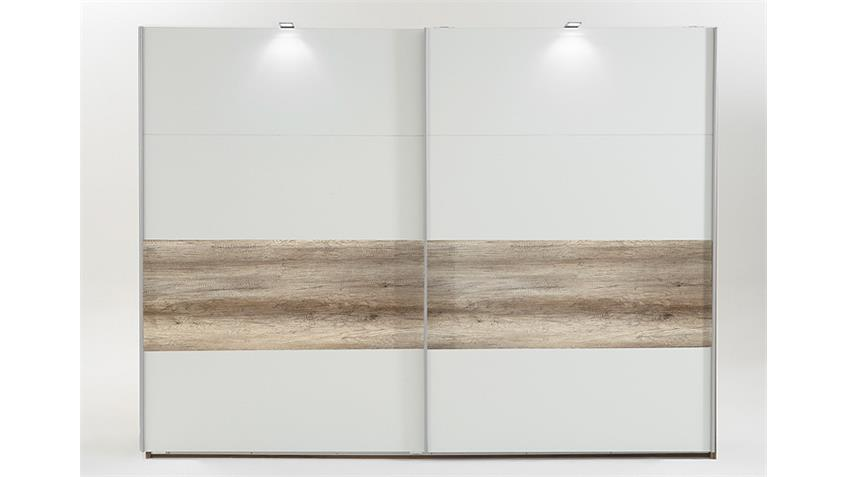 schwebet renschrank bert in wei absetzung wildeiche 225 cm. Black Bedroom Furniture Sets. Home Design Ideas