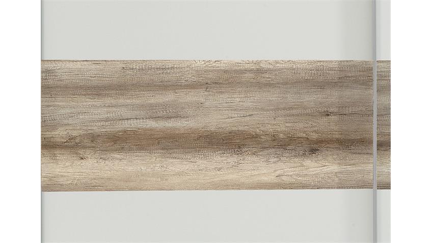 Kleiderschrank Bert weiß Abs. Wildeiche 225 cm