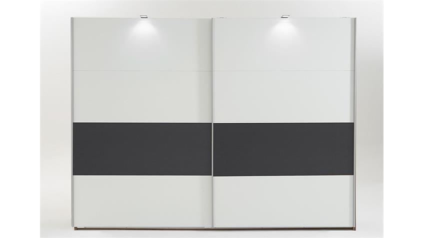 Kleiderschrank Bert weiß Abs. Anthrazit 225 cm