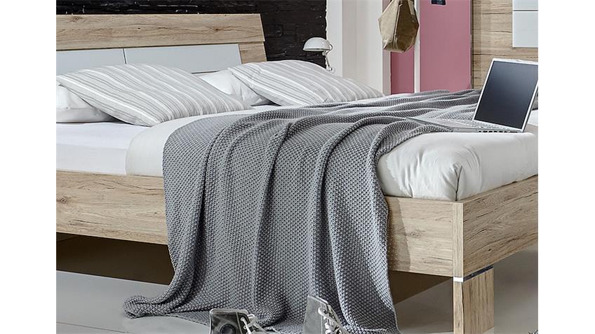 Bett WINNER Schlafzimmerbett in San Remo Eiche weiß 160x200