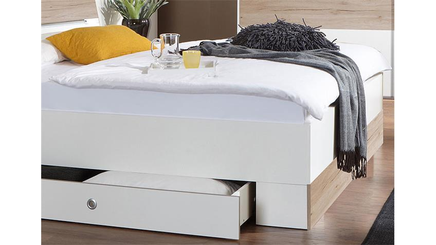 Bett Cheep in weiß und San Remo Eiche inkl. LED 180x200