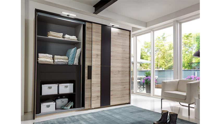 Schlafzimmer Set DIVA mit Schweber 250cm San Remo Eiche