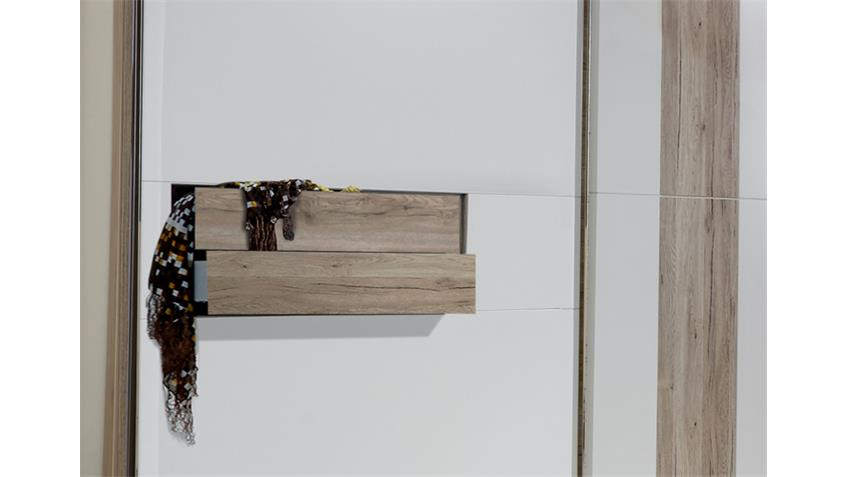 Schwebetürenschrank DIVA 250cm weiß San Remo Eiche 2 SK