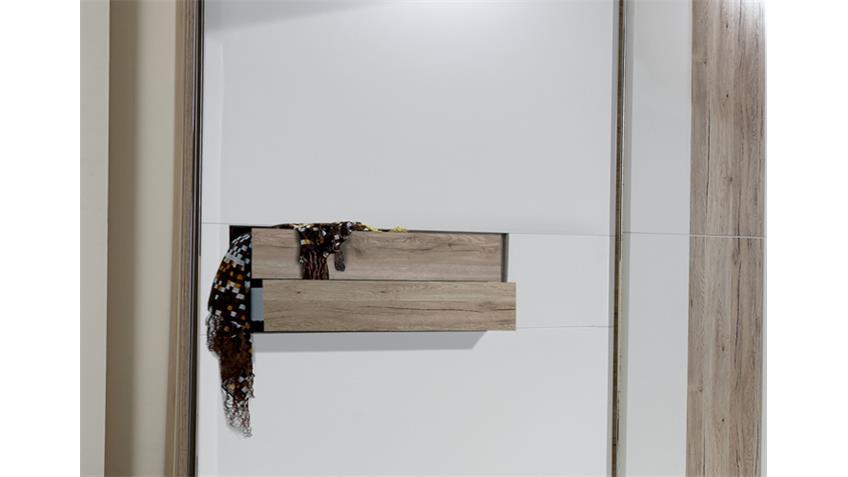 Schwebetürenschrank DIVA 300cm San Remo Eiche weiß 2 SK