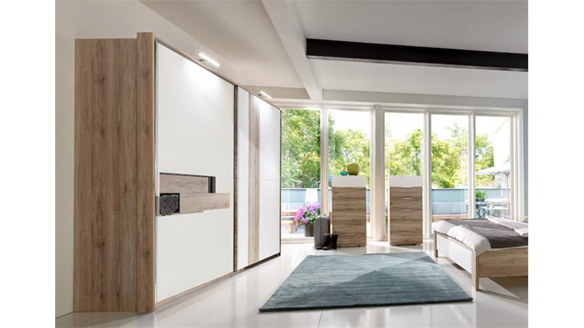 Schlafzimmer Set DIVA mit Schweber 300cm San Remo Eiche weiß