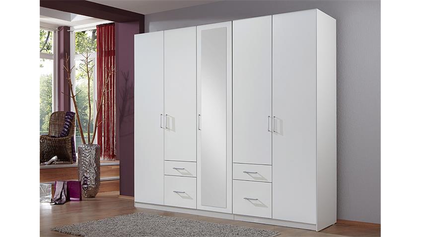 Kleiderschrank FLY in Weiß mit Spiegel B 225 cm