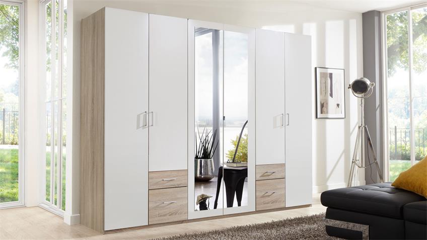 Kleiderschrank Freiburg in Eiche sägerau und weiß mit Spiegel 270 cm