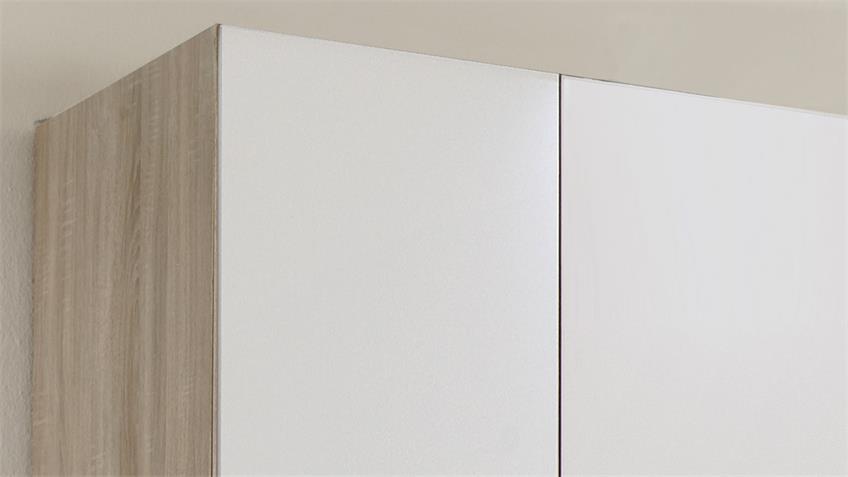 Kleiderschrank FREIBURG Front weiß Korpus Eiche sägerau Spiegel B 270 cm