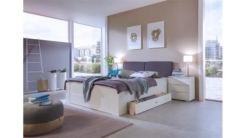 Bett Match Up Alpinweiß gepolstertes Kopfteil 180x200 cm