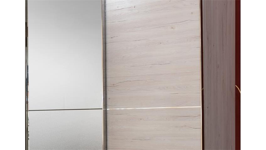 Schwebetürenschrank Escape Weißeiche mit Spiegel 300 cm